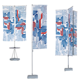The T-Pole® Basic is a telescopic flagpole with four banner arm styles from which your client can choose.