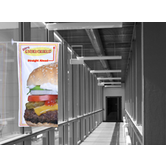 Window Banner Sets use suctions cups to mount a custom print to a window or other glass surface.