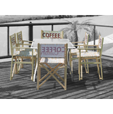 Advertising chairs have an attractive wooden frame with custom prints for advertising.
