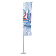 The Portable Flagpole with Arm Large stands 14.8' off the ground. Choose between a 2.6'x9.8' and a 3.9'x9.8' flag.