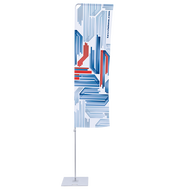 Our Medium Portable Flagpole with Arm flag is available in two portrait sizes. Choose between 2.6'x8.2' and 3.9'x8.2' flag size.