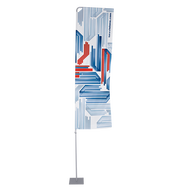 The Small 9.2' high Portable Flagpole with Arm displays a custom printed flag that measures 2.6'x6.6'.