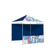 Full-color imprint tent shown with two full walls and one rectangular window.