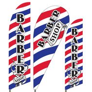 Barber Shop Feather Flag Set