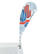 Bowflag® with Table Clamp display can be used on trade show tables, counters and more.