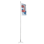 "This particular Flagpole Basic model uses the PVC Ground Sleeve for mounting onto the Cross Base 32""x32""/36lb."