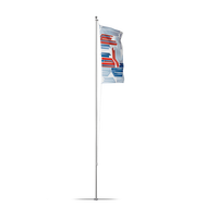"The Flagpole Basic & Ground Sleeve 15"" is lightweight at 9lb and can reach five different heights up to 20'."