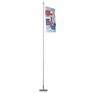 "This particular Flagpole Basic model is mounted onto the Steel Plate 22""x22""/40lb with the PVC Ground Sleeve."