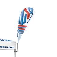 The Advertising Tent Bowflag® Drop 90° is easily attached to any advertising tent leg.