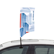 Car Bowflag® Rectangular Curve - a one-of-a-kind Bowflag® shape made for cars.