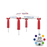 Decorative Bows in Stock Colors are easily attached to the legs of your client's Advertising Tent.