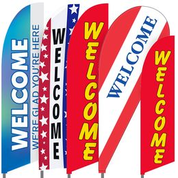 Welcome Feather Flag Set