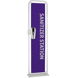 Suspension Banner with sanitizer dispenser attached