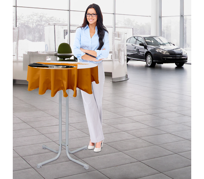 Table cover with slight overhang is an economical way to bring attention to your client's brand