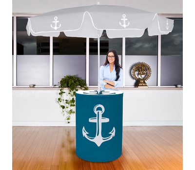 Pair your table with an Advertising Umbrella Economy for the ultimate marketing display