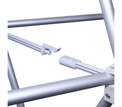 The hard plastic connectors snap together to form the stable structure of the Pop Up