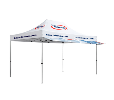 Awning can be used with custom-printed or stock color canopy