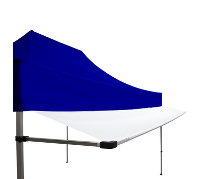 White Tent Awning is available in 10ft and 15ft width.