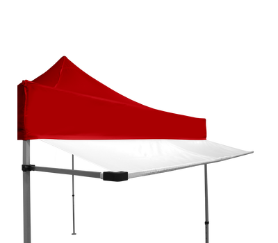 Awning hardware can be lowered and raised on tent legs as needed