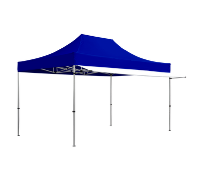 White awnings can be used with custom-printed or stock color canopies.