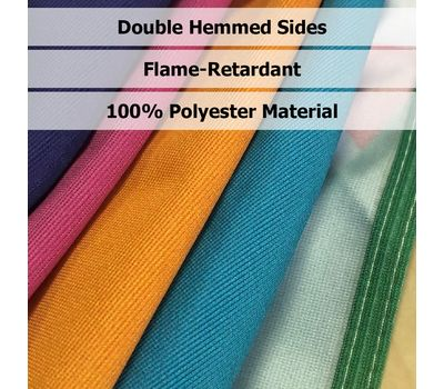 Polyester fabric is stain-resistant and features all around hemmed sides