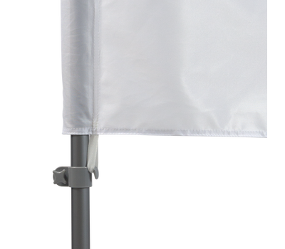 Flag attaches to the pole set with a tab connection