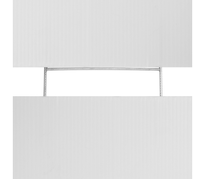 A sign slides into the stake from both side connecting them almost seamlessly.