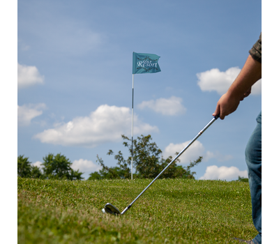 Custom golf flags are typically printed with a sponsor or golf course logo.