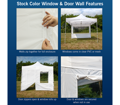 Features of our stock color walls with windows and doors.