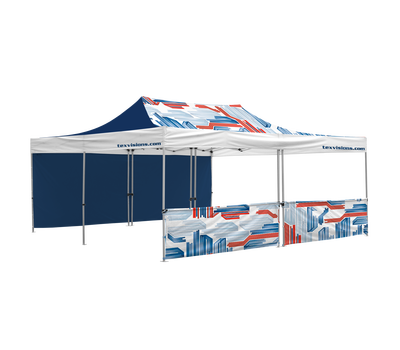 20' x 20' Tent with custom canopy, 1 full and 1 half wall. Half wall consists of 2 half walls leaving a small gap in the center.