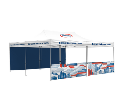 20' Tent with custom area imprint canopy, 1 full and 1 half wall, that consists of 2 half walls leaving a small gap in the center.