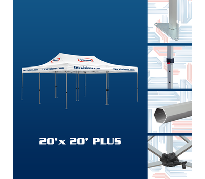 20 x 20 Plus Tent Frame consist of 2 connected 10 x 20 frames which makes storage and transport easy.