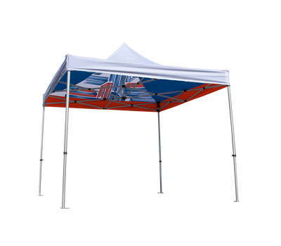 Opaque Interior Canopy Liner with custom print is shown with white tent canopy and frame.