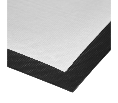Rubber edge around print area prevents fraying and functions as a safeguard to control trips.