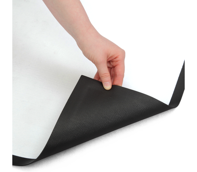100% nitrile rubber backing is waterproof and provides slip-resistance.