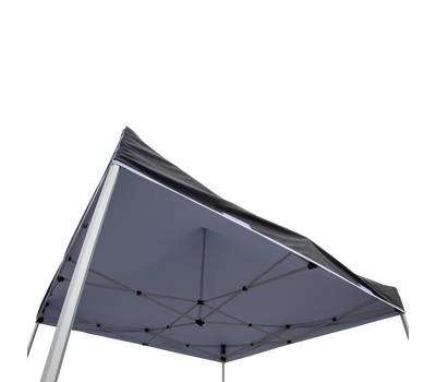 White canopy liner installed on tent frame creates an opaque ceiling (liner is not reversible).