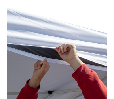 Canopy liner valances adhere to canopy valances with hook-and-loop adhesive to provide a professional look.