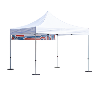 Banner can be placed anywhere on the tent canopy