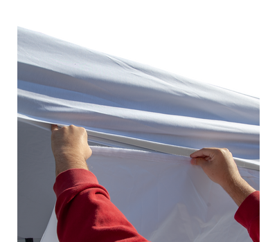 Attaches to tent canopy with loop fastener