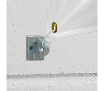 Eyelet brackets mount to walls and allow your banner to hang