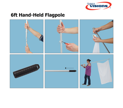 6ft Hand Grip Flag Pole