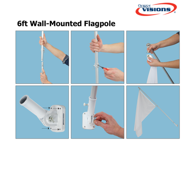 6ft Wall Mount Flag Pole