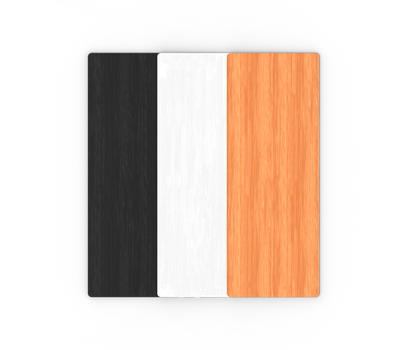 Tabletops and shelves all feature a wood grain finish and come in black, white or light wood.