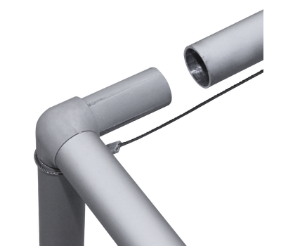 3D Connectors are used to put the aluminum poles together and create this three-dimensional shape.