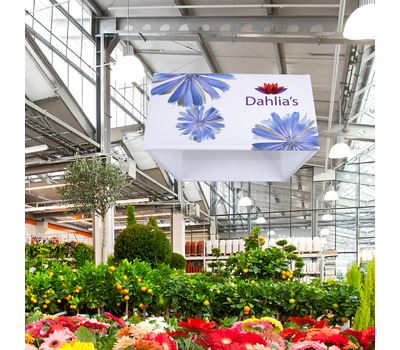 Your client's Hanging Square is designed for use indoors at showrooms, trade shows, and shopping malls.