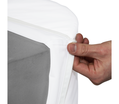 The custom print slips onto the Display Cylinder's foam core like a pillowcase for easy setup.