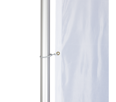 Pole clips are attached to the grommets to secure your client's custom printed flag to the hardware