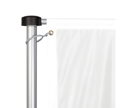 The T-Pole® Plus features a banner arm and pole cap that rotate in the wind to keep the custom print visible