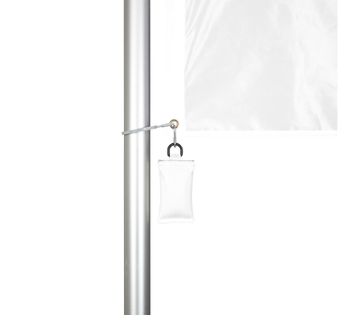 A flag weight can be attached to the corner grommet to keep the custom print displayed taut at all times