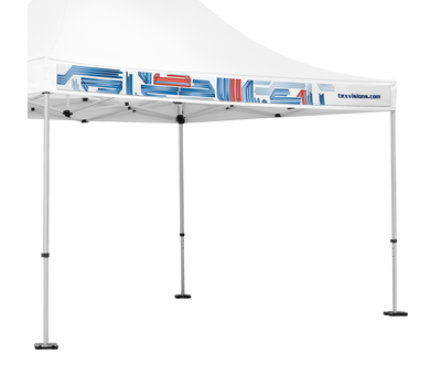 Interchangeable valance is easily attached to the portable canopy with included safety pins